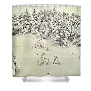 Snowy Forest Vintage Shower Curtain