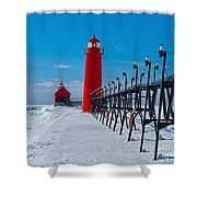 Snowy Grand Haven Pier Shower Curtain
