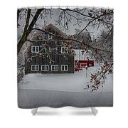 Snowy Grey And Red Shower Curtain