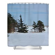 Snowy Hillside With Evergreen Trees And Bluesky Shower Curtain