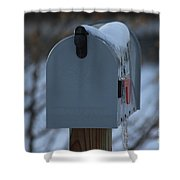 Snowy Kansas Mailbox Shower Curtain