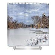 Snowy Lake Shower Curtain