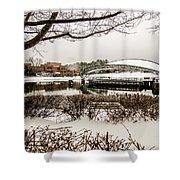 Snowy Landscape At Symphony Park Charlotte North Carolina Shower Curtain