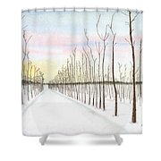 Snowy Lane Shower Curtain by Arlene Crafton