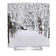 Snowy Lane In Winter Park Shower Curtain