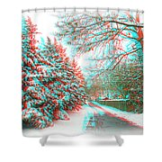Snowy Lane - Use Red/cyan Filtered 3d Glasses Shower Curtain