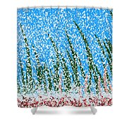 Snowy Lawn On A Sunny Day Shower Curtain