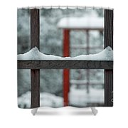 Snowy Lines Shower Curtain