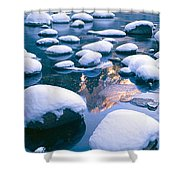 Snowy Merced River With Reflection Shower Curtain