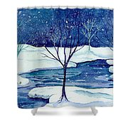 Snowy Moment Shower Curtain