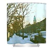 Snowy Montreal Winters City Scene Paintings Verdun Memories Church Across The Street Shower Curtain