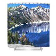 Snowy Mountains Reflected In Crater Lake Shower Curtain