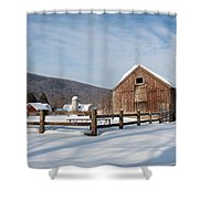Snowy New England Barns Shower Curtain