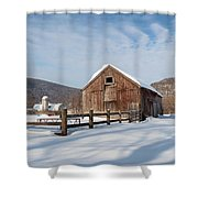 Snowy New England Barns Square Shower Curtain