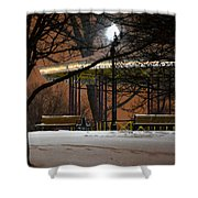 Snowy Night In Leone Riverside Park Shower Curtain