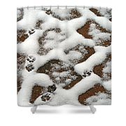 Snowy Path And Paw Prints Shower Curtain