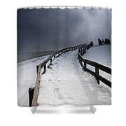 Snowy Pathway Shower Curtain