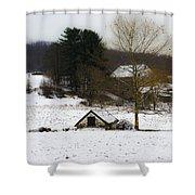 Snowy Pennsylvania Farm Shower Curtain