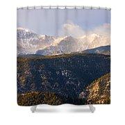 Snowy Pikes Peak Shower Curtain