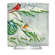 Snowy Pines And Cardinals Shower Curtain