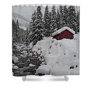 Wyoming Snowy Retreat Shower Curtain