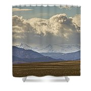 Snowy Rocky Mountains County View Shower Curtain