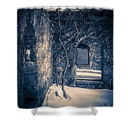 Snowy Ruins At Night Shower Curtain