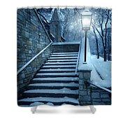 Snowy Stairway Shower Curtain
