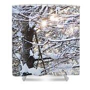 Snowy Sunbursts Shower Curtain