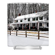 Snowy Valley Green Shower Curtain