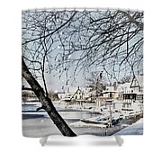 Snowy View Of Boathouserow Shower Curtain