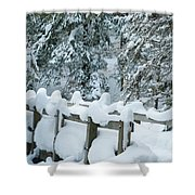 Snowy Wagner's Bridge Shower Curtain