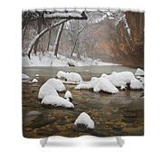 Snowy West Fork Shower Curtain by Peter Coskun
