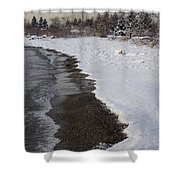 Snowy Winter Beach Patterns - Lake Ontario Toronto Canada Shower Curtain