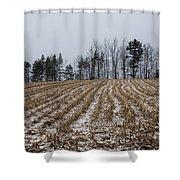 Snowy Winter Cornfields Shower Curtain
