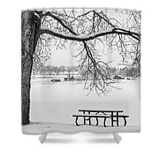 Snowy Winter Country Cottonwood Tree View Bwsc Shower Curtain by James BO  Insogna