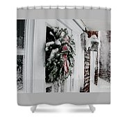Snowy Wreath  Shower Curtain