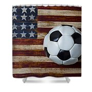 Soccer Ball And Stars And Stripes Shower Curtain