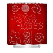 Soccer Ball Construction Artwork - Red Shower Curtain by Nikki Marie Smith