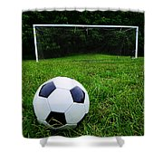 Soccer Ball On Field Shower Curtain