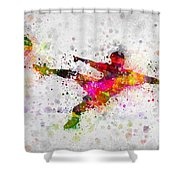 Soccer Player - Flying Kick Shower Curtain
