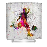 Soccer Player - Kicking Ball Shower Curtain