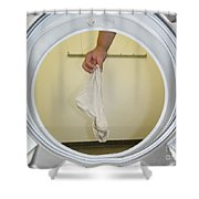 Sock In The Washing Machine Shower Curtain by Mats Silvan