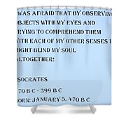 Socrates Quote In Cyan Shower Curtain