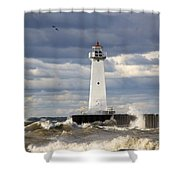 Sodus Outer Lighthouse On Stormy Lake Shower Curtain