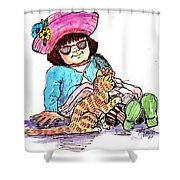 Sofie And Mittens Shower Curtain