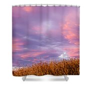Soft Diffused Colourful Sunset Over Dry Grassland Shower Curtain