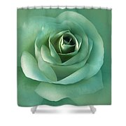 Soft Emerald Green Rose Flower Shower Curtain by Jennie Marie Schell