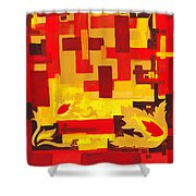 Soft Geometrics Abstract In Red And Yellow Impression I Shower Curtain