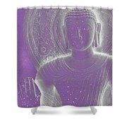 Soft Glow Purple Buddha Shower Curtain by Sally Rockefeller